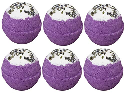 6 Relaxing Lavender Bubble Bath Bombs Gift Set for Women. Two Sisters Spa. 99% Natural XL Large USA Made Lush Spa Fizzies. For Her, Wife, Girlfriend. Releases Essential Oils, Colors, -