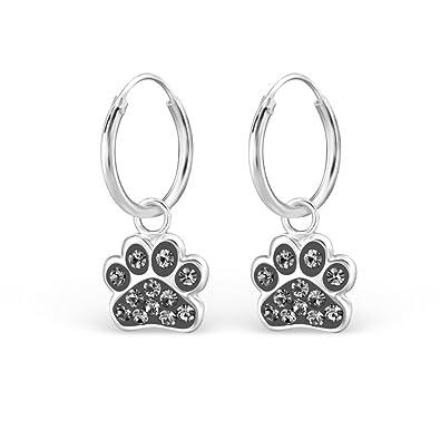 Earrings for Women Dog Earrings Jewellery for Women Puppy Paw Print Earrings Sterling Silver Crystal Stones Birthday Gifts for Women nRjeWzyI