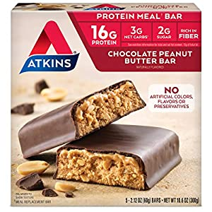 Well-Being-Matters 5115RcSaN0L._SS300_ Atkins Protein Meal Bar, Chocolate Peanut Butter, Keto Friendly, 5 Count