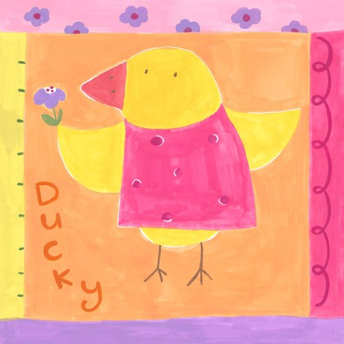 Oopsy Daisy Spring Ducky Stretched Canvas Wall Art by Kaori Watanabe, 10 by 10-Inch