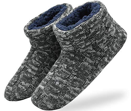 KuaiLu Herren Wolle Hausschuhe Stricken Künstliche Warme Indoor Stiefel rutschfest