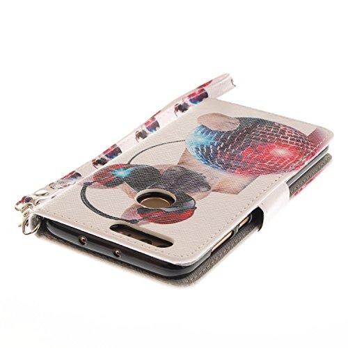 Funda Huawei honor 8,SainCat Funda de cuero sintético tipo billetera con correa de cordón de Suave PU Carcasa Con Tapa y Cartera,Ranuras para Tarjetas y Billetera Funda de Flip Ranuras Tarjeta Slots F Perro de moda