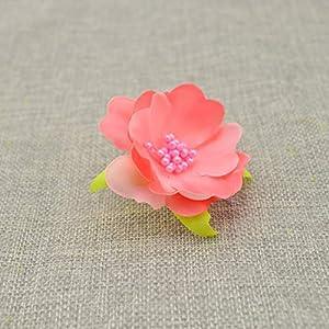Tokyo Summer 10Pcs Artificial Flowers for Wedding Decoration Silk Stamens for Needlework DIY Handmade Bride Wreath Accessories Pompom,Milk White 5