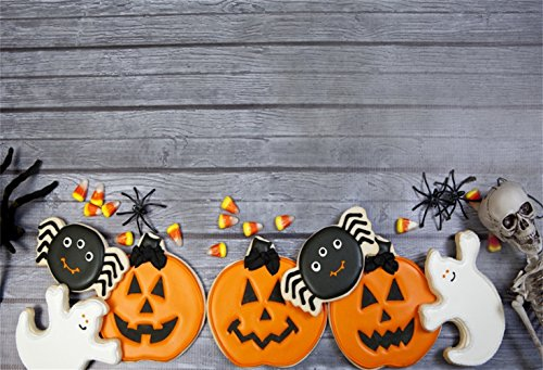 (Laeacco Halloween Theme Backdrop 7x5ft Vinyl Photography Background Cute Gingersnap Pumpkin Lamps Grimace Ghost Spider Skeleton Niblet Trick or Treat Party Greeting Card Kids Baby Shoot)