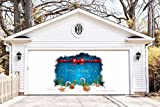 Christmas Banners Outdoor Decorations Garage Door Full Color Covers Holiday Billboard for 2 Car Garage Door Merry Christmas and Happy New Year Decor Murals size 82x188 inches made in the USA DAV48