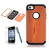[iPhone 5C Phone Case] Lantier Wood 3in1 Heavy Duty Painting Design Slim Fit Hybrid TUFF Impact Shockproof Case Hard Silicone Gel Cover for iPhone 5C with Screen Protector and Stylus Pen Black