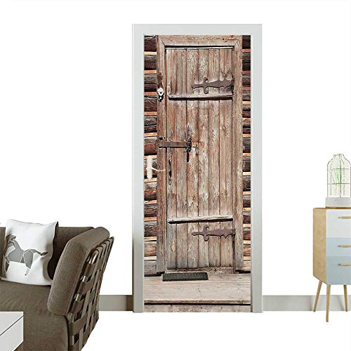3D Photo Door Murals Timber Rustic Door in Wall of an Old Log House Ancient Abandoned Building Easy to Clean and applyW38.5 x H79 INCH