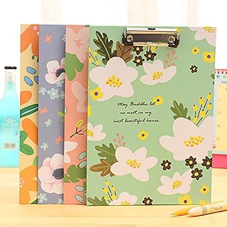 Zedo Klemmbrett Blumen Zwischenablage A4 Regel Papier Blumenmuster Bl/üten Design Schreibblock aus Papier size 22 31cm Violet