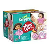 Pampers Easy Ups Girls Size 3T-4T Diapers Big Pack 60 Count