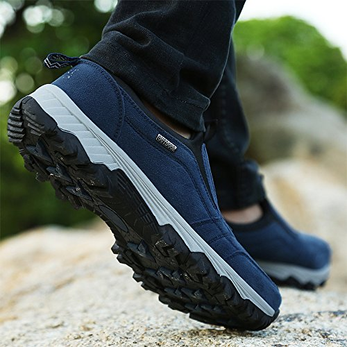11eb940031a2ea VILOCY Men's Suede Leather Hiking Trekking Shoes Slip on Outdoor Sports  Camping Sneaker Casual Walking Loafers Shoe Navy UK10(45)