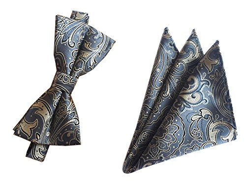 Big Boys Bow Ties Set Dark Grey Business Silk Bowties Holiday Best Gifts for Men