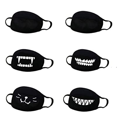 IsFashion Mouth Face Protecive Gear, Cartoon Printed Cover Cute Pattern Accesory Unisex(Pack of 6): Clothing
