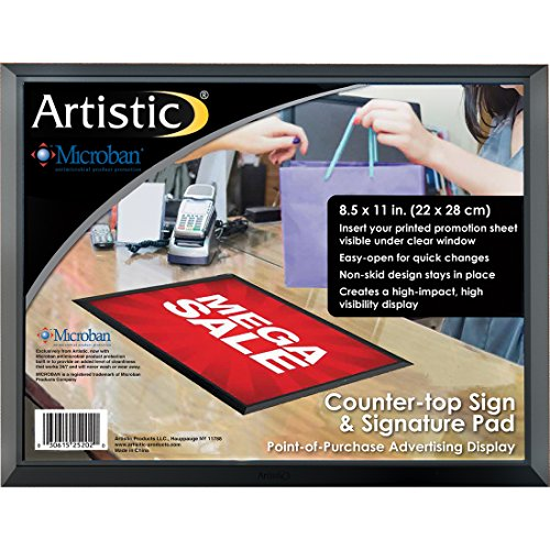 Artistic 25202 8.5 x 11 Retail Counter Mat / Signature Pad - Slide-In Advertisement Display with Exclusive Microban Antimicrobial Protection, Black/Clear