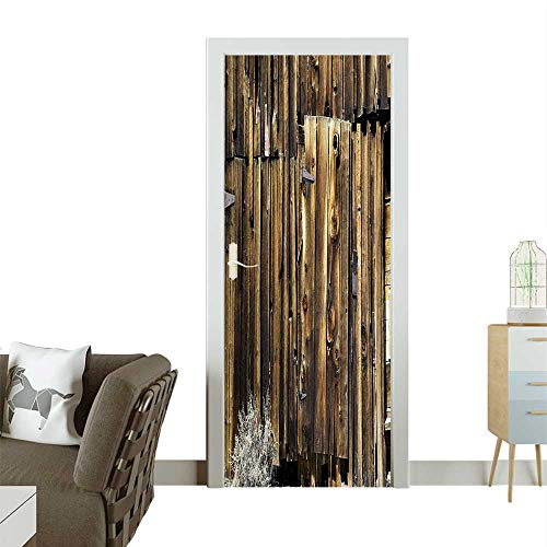 Homesonne Waterproof Decoration Door Decals Barn Sid Door Cracked Rusted Dated Timber Mansi Farml Nobody Perfect ornamentW36 x H79 INCH