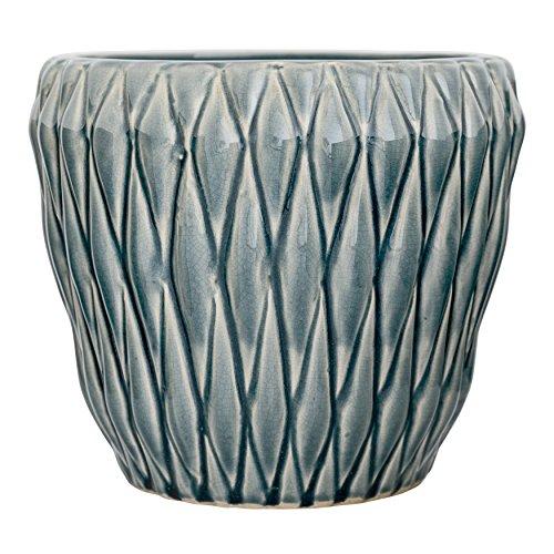 Bloomingville A27122070 Large Blue Ceramic Flower Pot with Diamond Designs