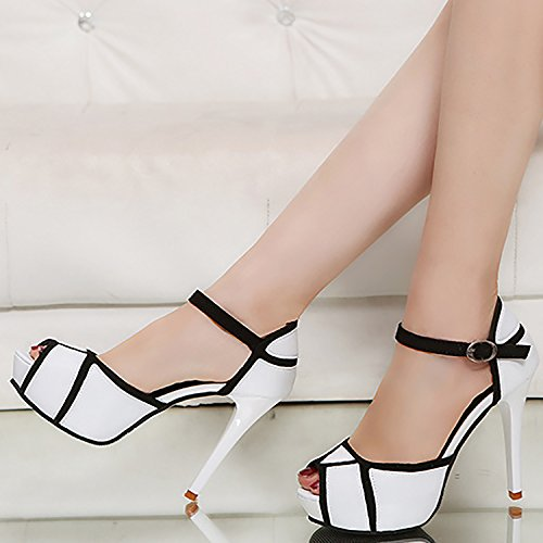 ODEMA Women Peep Toe High Heel Buckle Platform Pumps Casual Party Court Shoes White A4zsY