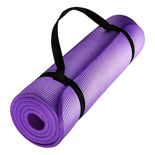 CoutureBridal Yoga Mat 1/2-Inch Extra Thick Exercise Mat High Density Anti-Tear Workout Mat with Carrying Strap