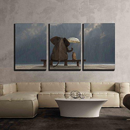 Elephant and Dog Sit under the Rain x3 Panels