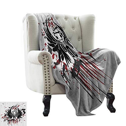 RenteriaDecor Halloween,Custom Picture Blankets Teddy Bones with Skull Face and Wings Dead Humor Funny Comic Terror Design 60