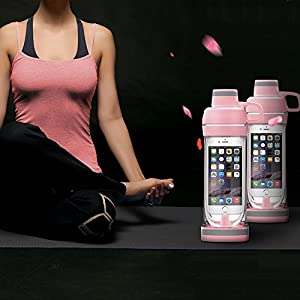 CIMBOO Multi-Function IPhone Water Bottle for Storing Belongs and Outdoor Activities, Pink