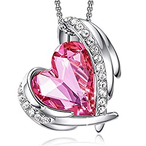 Best Epic Trends 5115Uu4PFJL._SS300_ CDE Love Heart Pendant Necklaces for Women Silver Tone Rose Gold Tone Crystals Birthstone Mother's Day Jewelry Gifts for…