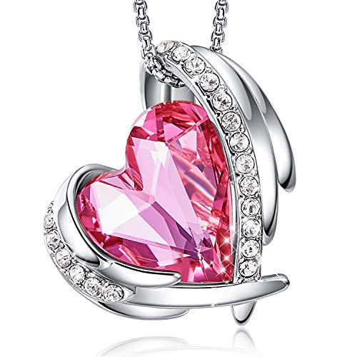 CDE Love Heart Pendant Necklaces for Women Silver Tone Rose Gold Tone Crystals Birthstone Valentines Day Jewelry Gifts for Women Party/Anniversary Day/Birthday