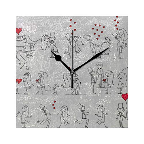 ZHRX Silent Clock Square Cartoon Wedding Pictures Square Silent Non Ticking Printing Acrylic 7.8 Inch Kids Clocks Wall (Picture Cartoon Wedding)