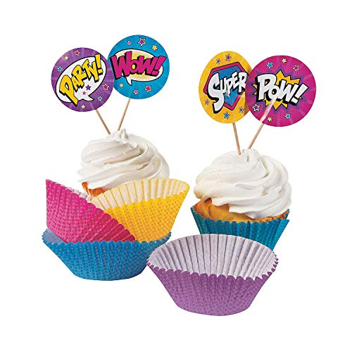 Fun Express - Superhero Girl Cupcake Wrappers W/Picks for Birthday - Party Supplies - Serveware & Barware - Misc Serveware & Barware - Birthday - 100 Pieces -