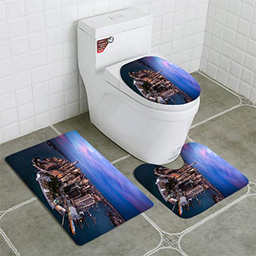 BEISISS Bathroom Mat Sets 4 Piece-Non-Slip - Short Plush Manhattan Island in New York City Bathroom Rug + Contour pad + lid Toilet seat+Toilet seat Cushion