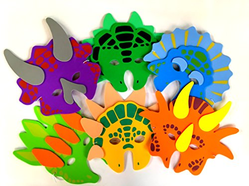 Playscene 1 Dozen Foam Dinosaur Masks, Party Favors for Children (12 Dinosaur Masks)]()