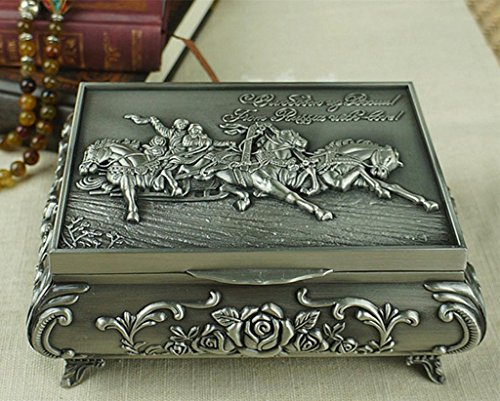 Unendlich U Luxus Synthetik Schmuckkoffer Rectangle-Form War Horses Engraving mit Schmuckbox für Damen,Reines Zinn-Schmuckstück,Silber-Large -
