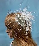 Rhinestone Wedding Veil, Feather Crystal Veil, Crystal Wedding Veil