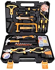 SOLUDE Portable General Repairing Hand Tool Kits with Plastic Toolbox Storage Case