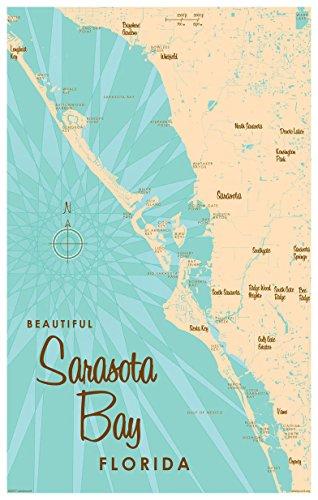 Sarasota Bay Florida Map Vintage-Style Art Print by Lakebound (12