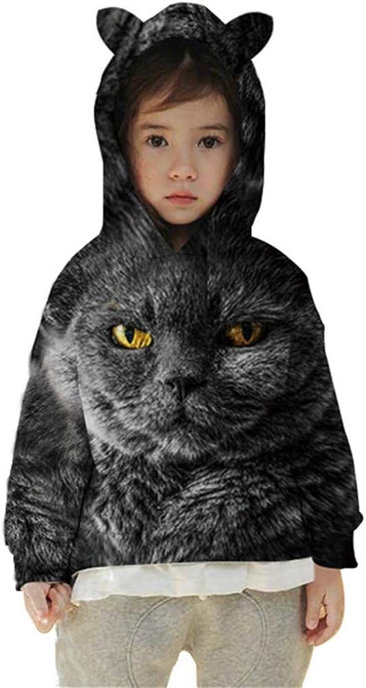 Imbry Girls Cute Cat Ears Hoodie Kids Cool 3D Wolf Sweater Unisex Pullover Hooded Sweatshirt