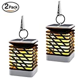 AIYIOUWEI Solar Lights Outdoor LED Flickering Flame Torch Lights Solar Powered Lantern Hanging Waterproof Auto On/Off(2 Pack)