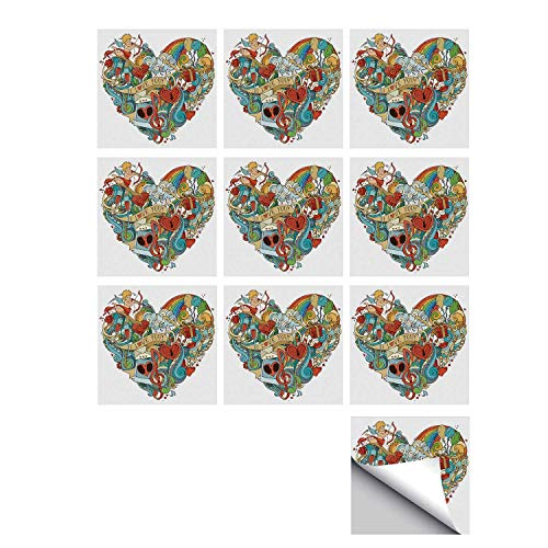 C COABALLA I Love You Stylish Ceramic Tile Stickers 10 Pieces,Love with Eros Arrow Music Present Boxes Swirls Balloons Ring Marry Me Concept for Kitchen Living Room,7