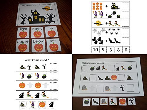 (4 Pack laminated preschool Halloween themed Educational Games. Math Addition, Fill In the Missing Pattern, What Comes Next,)