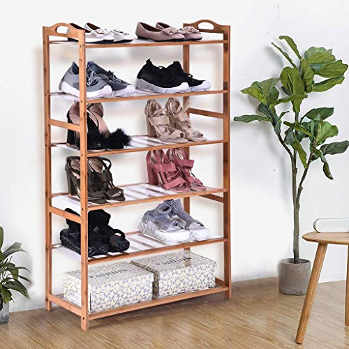 (Sodoop Shoe Rack, Multifunctional 6 -Tiers Shoe Rack, Stackable Shoe Shelves Storage Utility Accessory Rack and Storage Shelf for Shoes, Boxes, Plants, Toiletries, Baskets, Books)