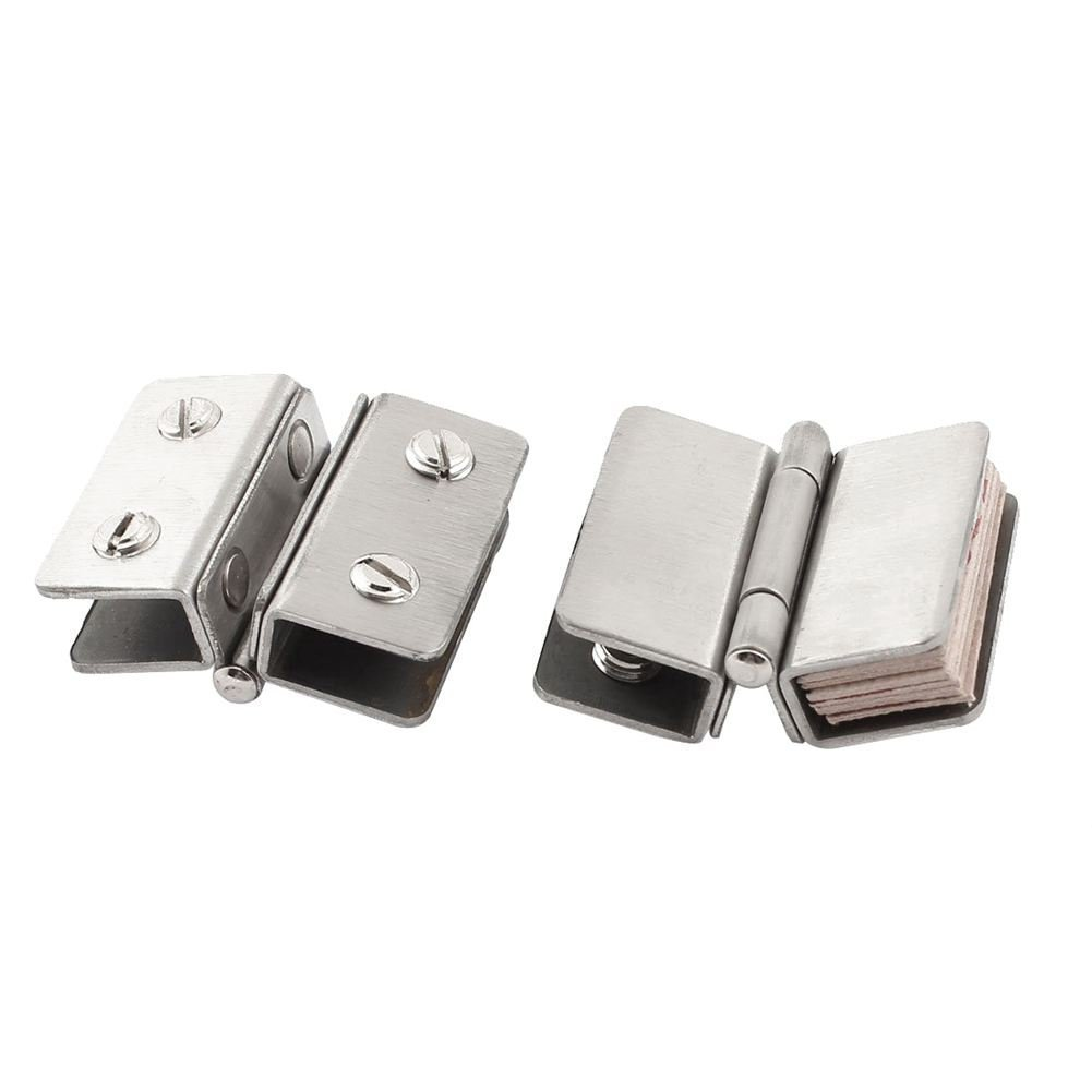 2x Shower Glass Door Adjustable Double Clamp Hinge Silver R TOOGOO