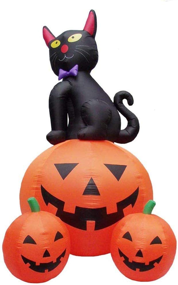 12 Air Blown Inflatable Black Cat Sitting On Pumpkin Halloween Yard Decoration Cy H0012n Garden Outdoor
