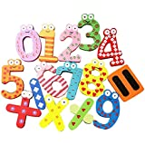 SYGA Wooden 0 to 9 English Stencils Magnets Refrigerator Fridge Stickers Toys