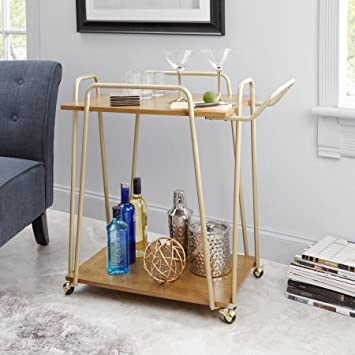 Better Homes Gardens. Giana Metal Wood Modern Bar Cart, Gold Finish