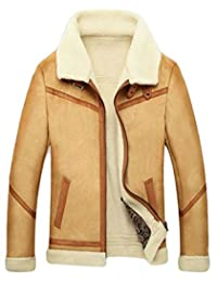 M&S&W Men's Sheepskin Jacket Suede Jacket Cashmere Shearling Coat