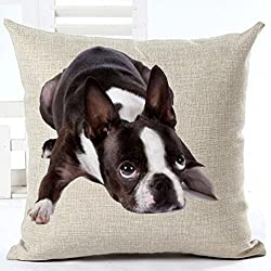 Cotton Linen Cute Funny Various Pet Dogs Human Friends Boston Terrier Throw Pillow Covers Cushion Cover Decorative Sofa Bedroom Living Room Square 18 Inches