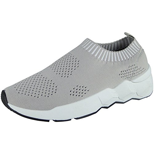 Ladies Running Trainers Womens Slip On Flat Comfy Fitness Gym Sports Shoes Size 3-8 Grey pJrBKNj