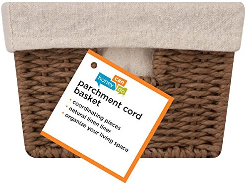 Honey-Can-Do STO-03563 Parchment Cord Basket with Handles and Liner, Brown, 6.89 x 11 x 4.5 inches by Honey-Can-Do (Image #2)