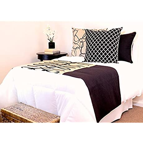 King Size Bed Scarf In Linen And Black