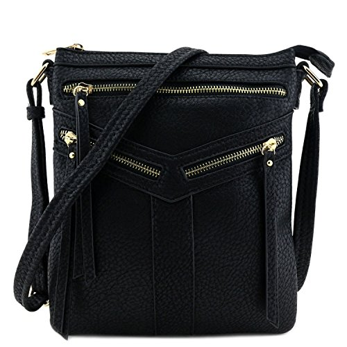 Double Compartment Crossbody Bag with Zipper Accent Black by Isabelle