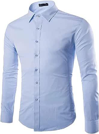 Gdtime Camisas De Manga Larga De Los Hombres, Color Sólido Regular Manga Larga Resistente a Las Arrugas Camisas Casuales, Doble Botón Abajo Clásico ...